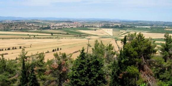 Etang asséché de Montady depuis l'Oppidum d'Ensérune - Hérault, le Languedoc © Photothèque Hérault Tourisme - S. Durand Keller